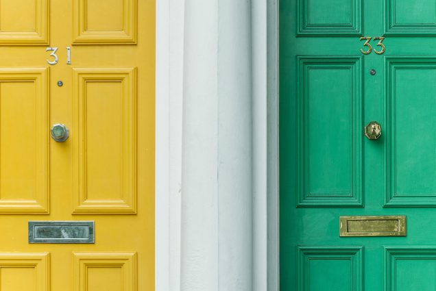 two colourful front doors